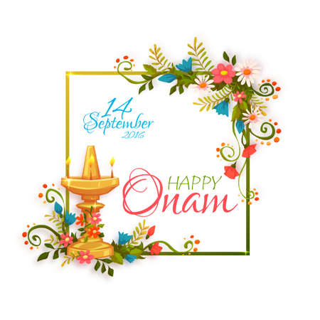 pookolam: Happy Onam banner with frame. Vector illustration.