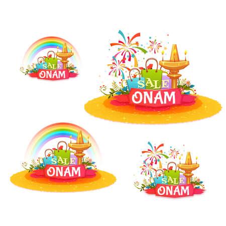pookolam: Onam holiday sale banner set with ribbon. Vector illustration.
