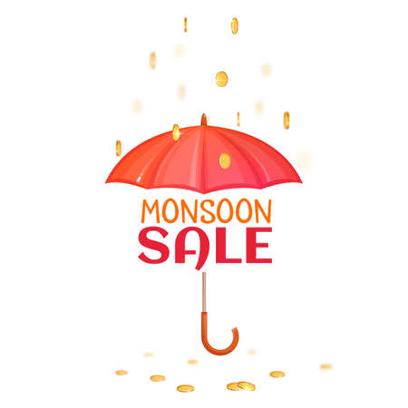 brolly: Monsoon salle banner with umbrella. Vector illustration. Illustration