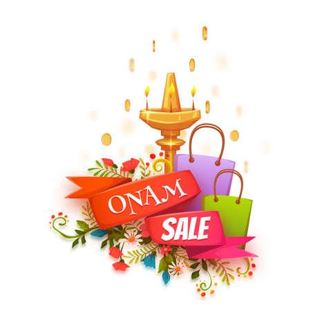 pookolam: Onam holiday sale banner with ribbon. Vector illustration. Illustration