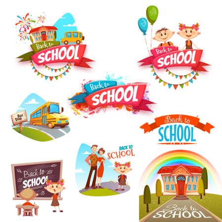 Terug naar school banners in te stellen. Vector illustratie.