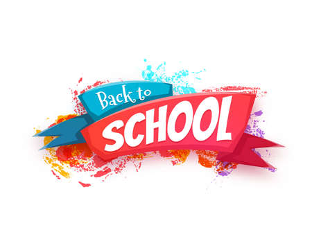 Terug naar school banner met lint. Vector illustratie.