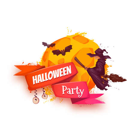 hag: Halloween party banner with witch and moon.