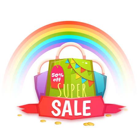 banger: Big sale banner with color packet and confetti. Vector illustration. Illustration