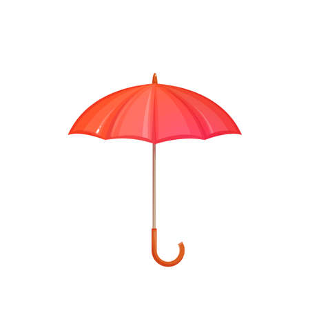 brolly: Red umbrella isolated on white background. illustration. Illustration