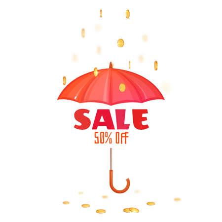 Monsoon salle banner with umbrella. Vector illustration. Illustration