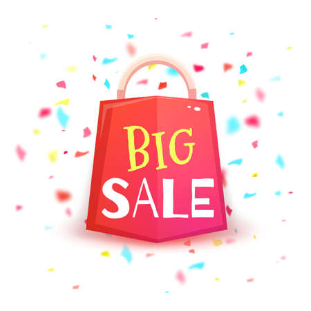 banger: Big sale banner with red packet and confetti. Vector illustration.