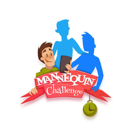 Vector illustration of ribbon with Mannequin Challenge title.