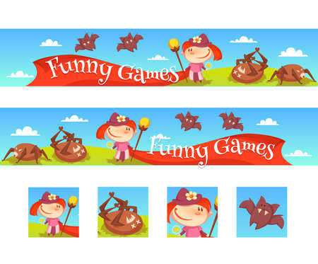 Vector illustration of the layout of a game banner with the girl, spiders and bats.