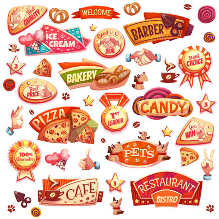 Set of different elements dedicated to bakery, pets and barber. Vector illustration. Ilustracja