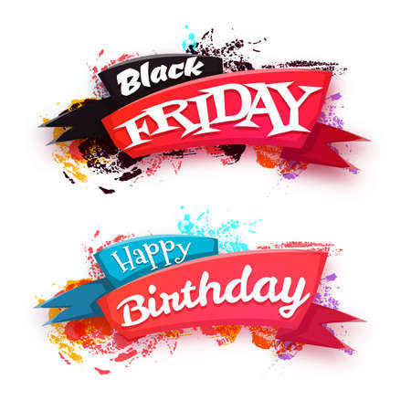 Black friday sale banner with ribbon isolated on white background.