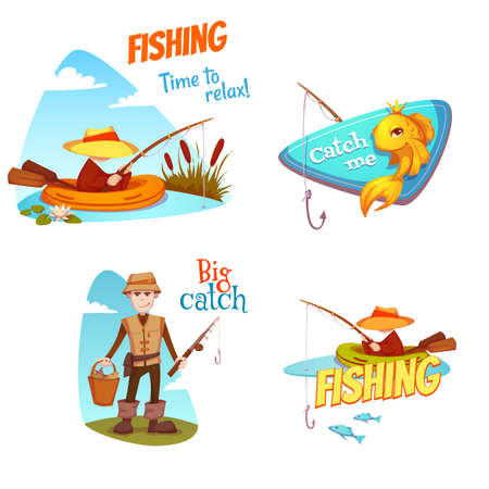 The set of vector illustrations with the fishermen and the different fish.