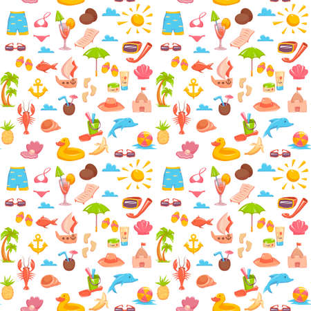 Seamless pattern with different elements dedicated to the sea vacation isolated on white. Vector illustration.