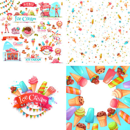 Set of ice cream elements, frame, and pattern isolated on white.