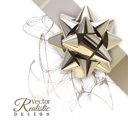 Vector illustration of realistic metallic golden ribbon. Ilustracja