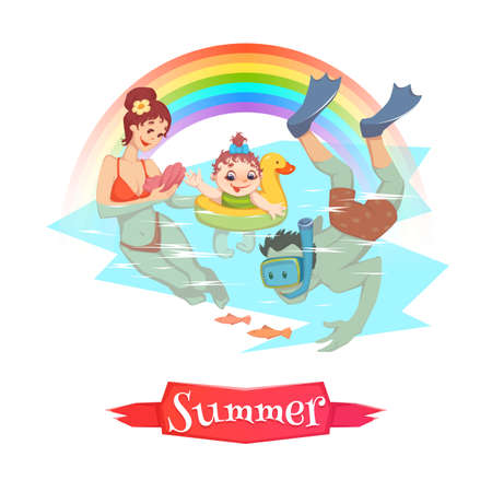 The set of vector illustrations of the people doing summer leisure activities. Ilustracja