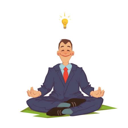 Vector illustration of happy careless businessman meditating.