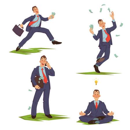 Vector illustration of businessman in formalwear running, spending money, talking phone and meditating.