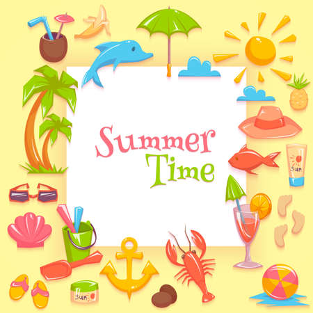 Vector illustration of different things for vacations rounding the frame with summer time lettering.
