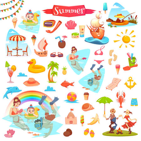 Set of different elements for fishing, ice cream, summer and sushi themes. Stock Photo