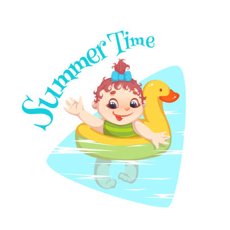 Vector illustration, a child swimming in the pool,   child riding a floater Illustration