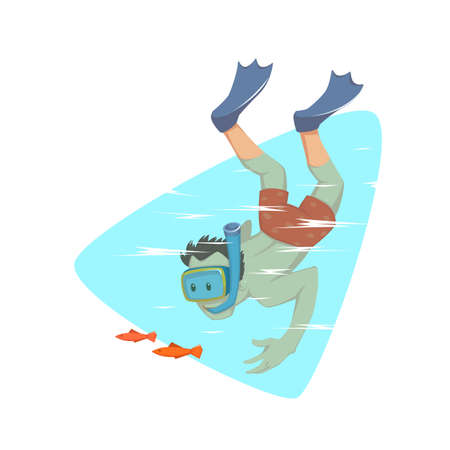 Vector illustration of a man with goggles and snorkeling tube swimming underwater. Ilustracja