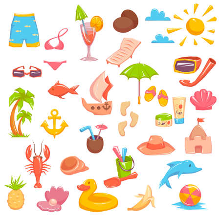 Set of different elements dedicated to the sea vacation, isolated on white background, vector illustration