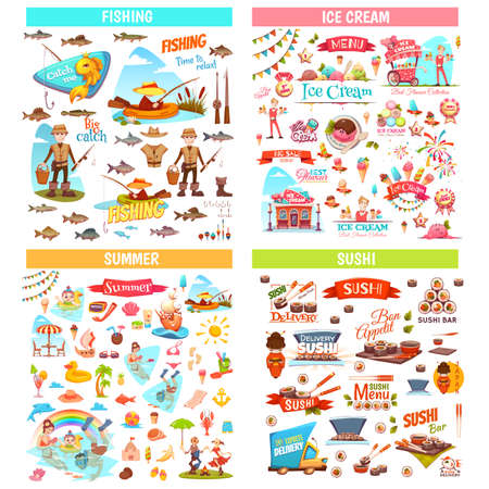 Set of different elements for fishing, ice cream, summer and sushi themes. Ilustracja