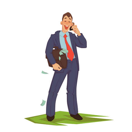 Vector illustration of happy careless businessman talking phone.
