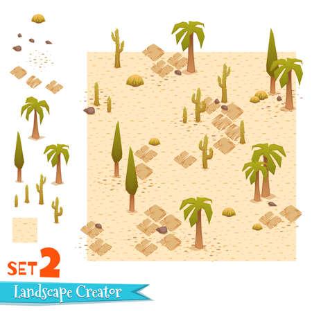 Sandy landscape and palms set. Vector illustration