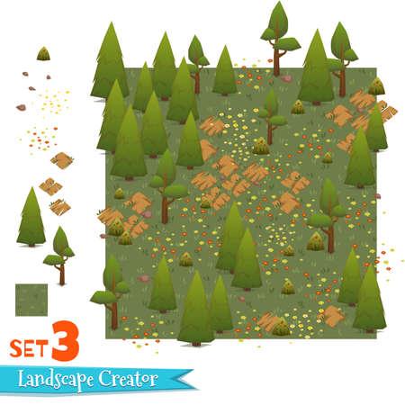 Set of green forest landscape. Vector illustration Ilustracja