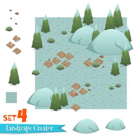 Set of winter forest landscape. Vector illustration Ilustracja