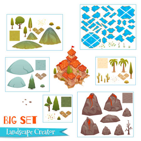 Set of landscape elements with castle, rivers, trees, grass and other. Vector illustration Ilustracja