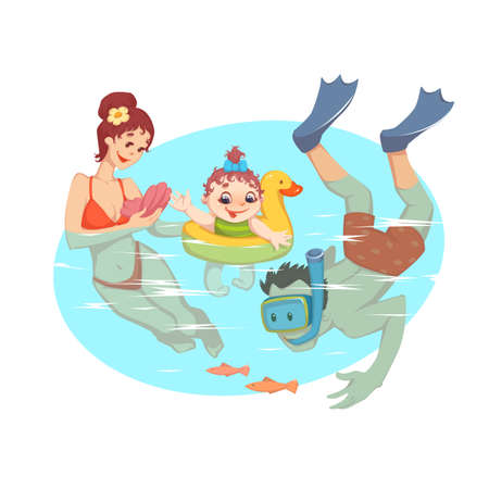 Vector illustration of the parents swimming in the water with the child.