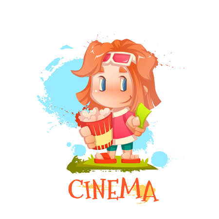 Vector illustration of cute girl with popcorn and ticket Ilustracja