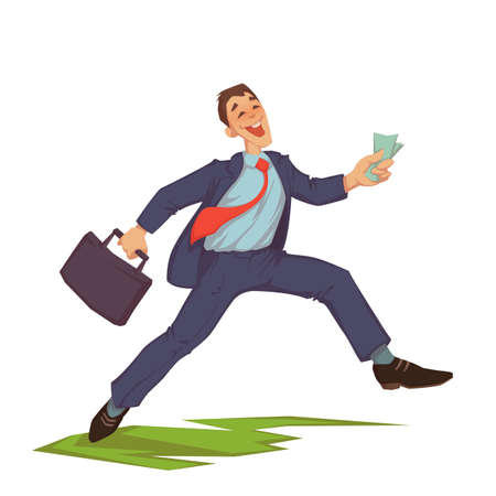 Vector illustration of happy careless businessman throwing up money 矢量图像