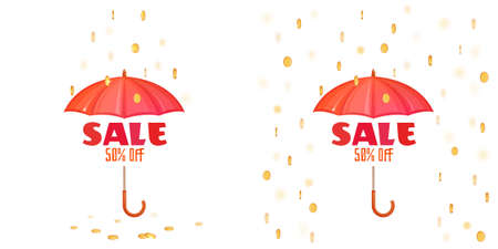 Vector illustration of red umbrella and raining coins with sale announcement isolated on white.
