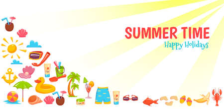 Vector illustration for banners of different things for vacations