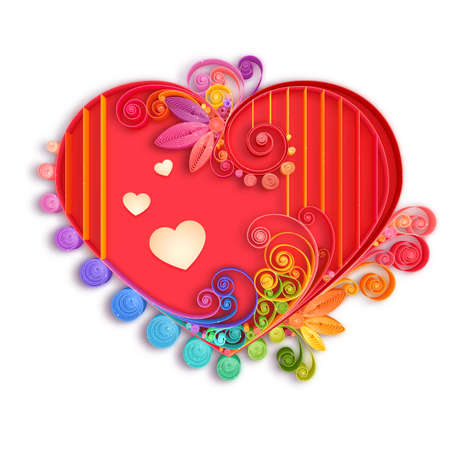 Quilling paper heart. Vector illustration. Happy valentine day and love.