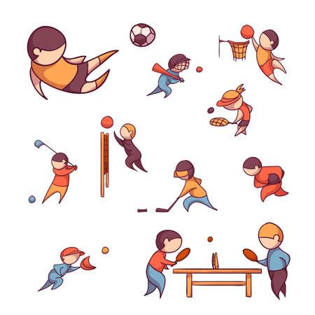 Vector set of 10 sports, such as football, tennis and etc