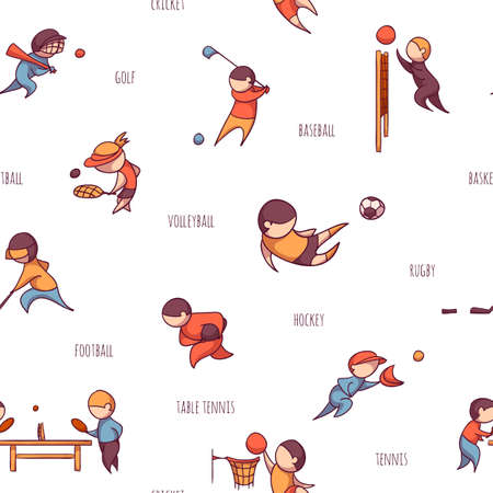 Vector set of 10 sports, such as football, tennis and etc. Seamless pattern