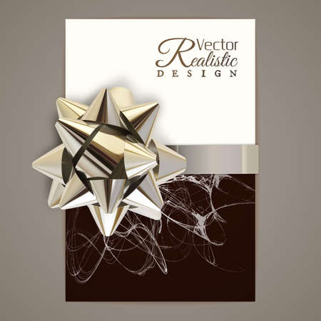 Vector illustration of realistic metallic golden ribbon on a greeting card Ilustracja