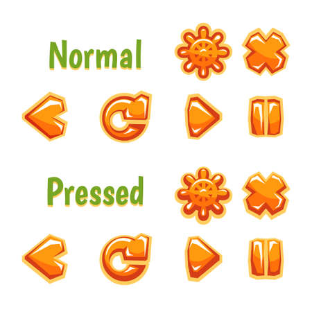 Colorful vector set of icons for media and gadget interface main commands and buttons isolated on white background 矢量图像