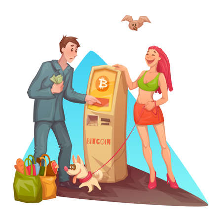 Flat style of cheerful woman with dog and confused man with cash money standing at bitcoin ATM machine