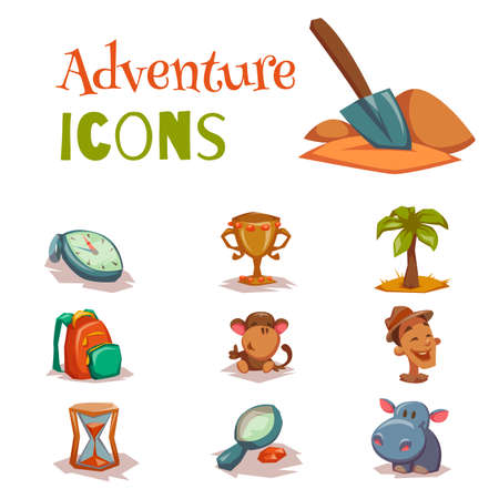 Set of tropical adventure game icons templates. Tropical old paper theme vector of game templates with icons and signs isolated on white background Ilustracja
