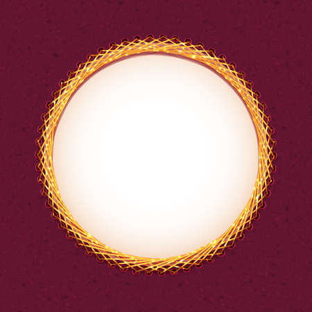 Handmade embroidery of circle frame. Vector illustration.