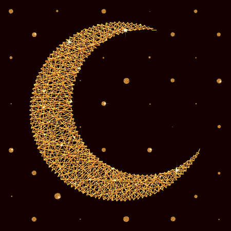 Vector illustration with moon for holy month of muslim community Ramadan Kareem.