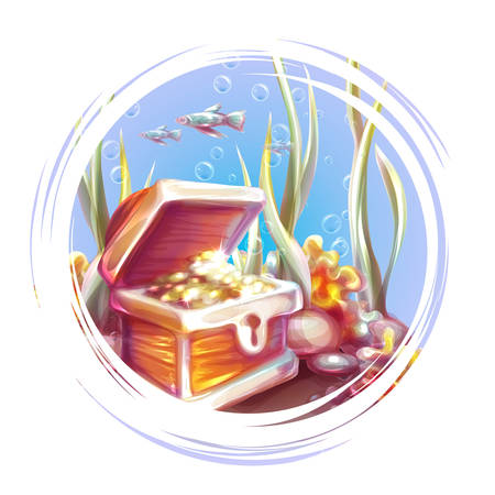Vector illustration of banner with treasure chest in ocean.