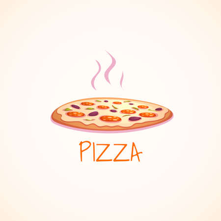 Vector illustration of hot pizza on white background.