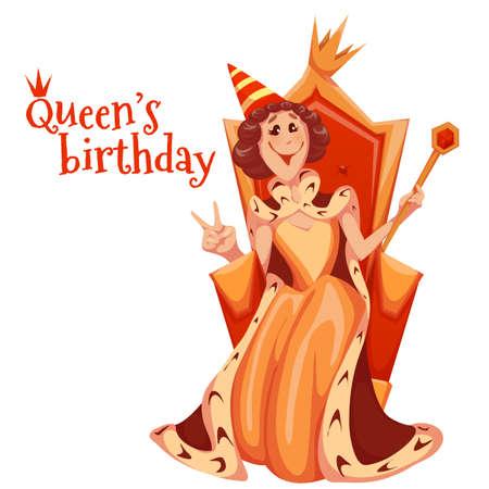 Queen birthday celebration. Queen sit on gold throne. Vector illustration.